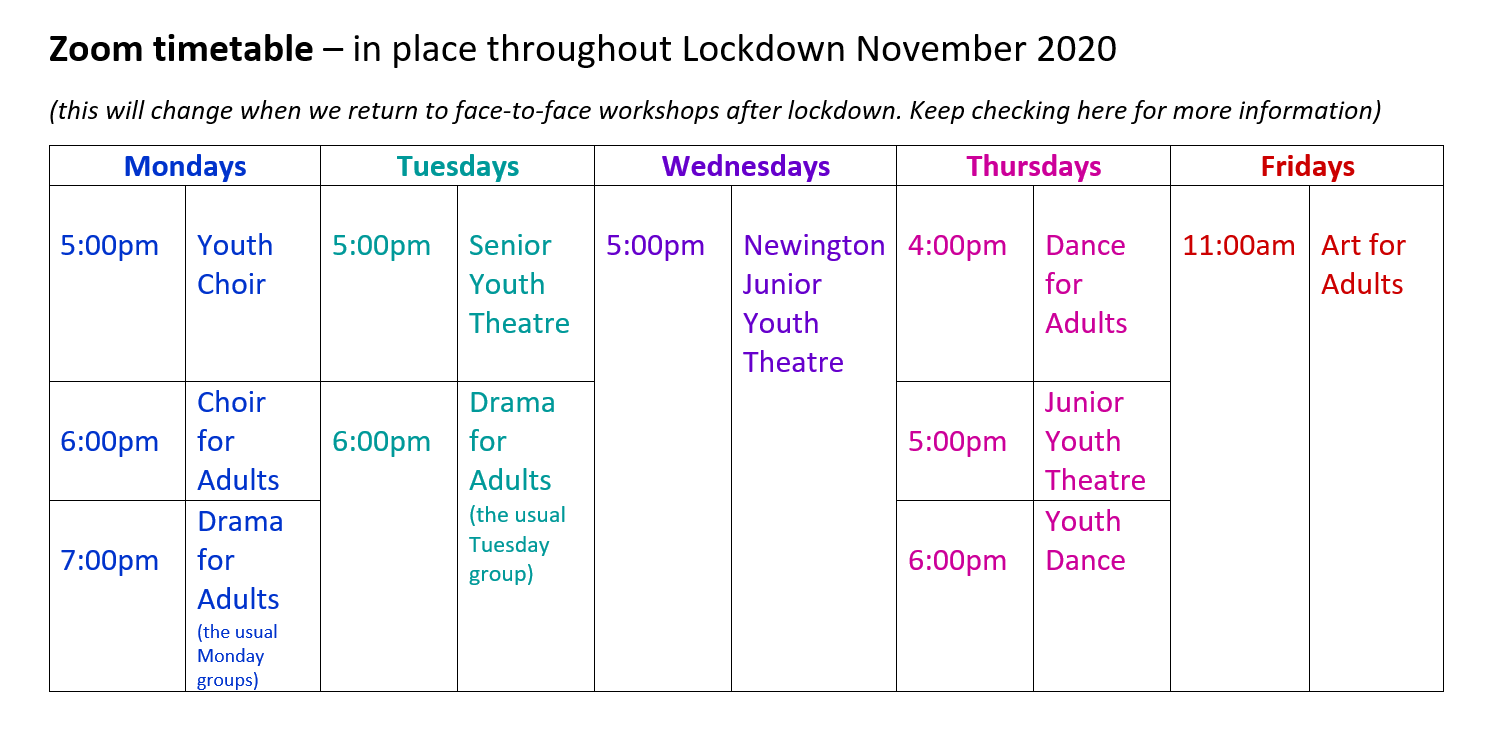 Lockdown Inspiration timetable