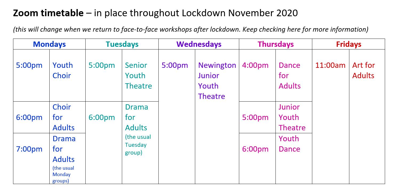 Lockdown Inspiration timetable