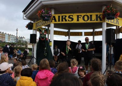 Clarence on stage at Folk Week